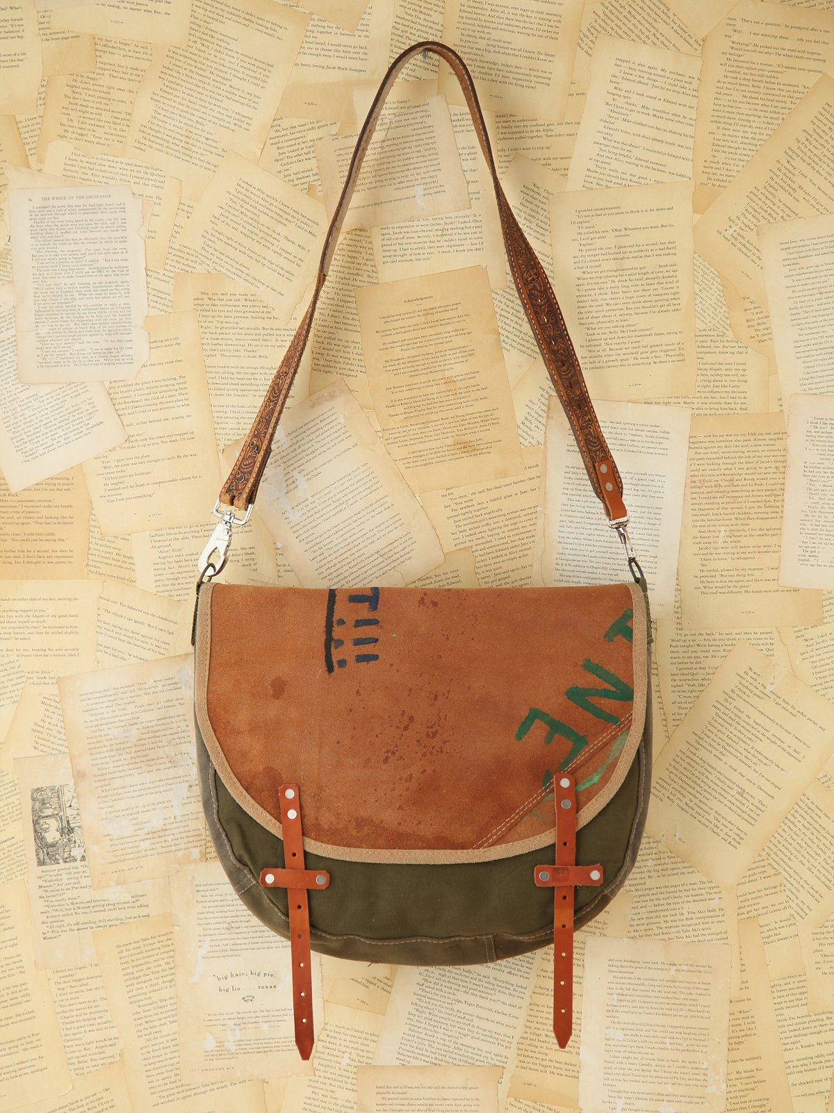 Vintage Painted Leather Messenger Bag
