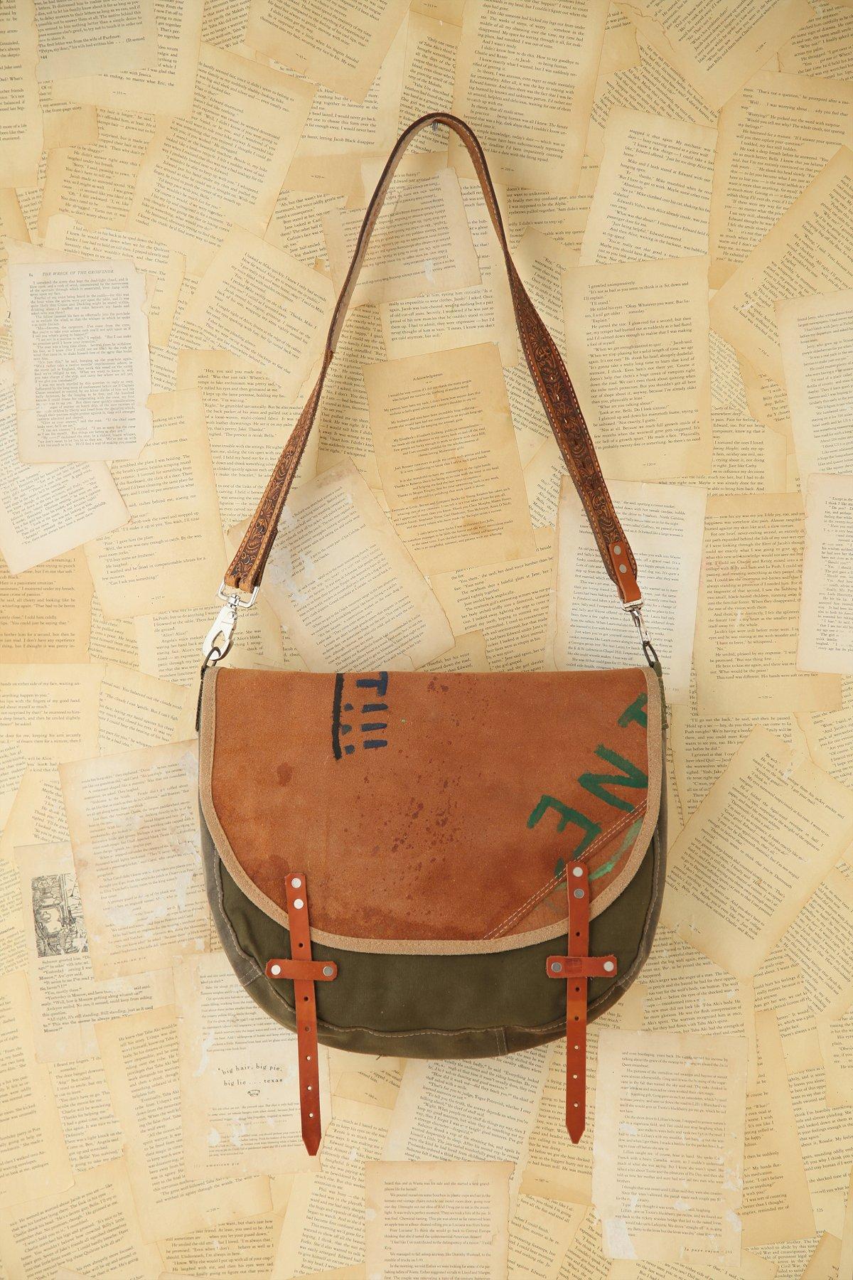 Vintage Painted Leather Messenger Bag