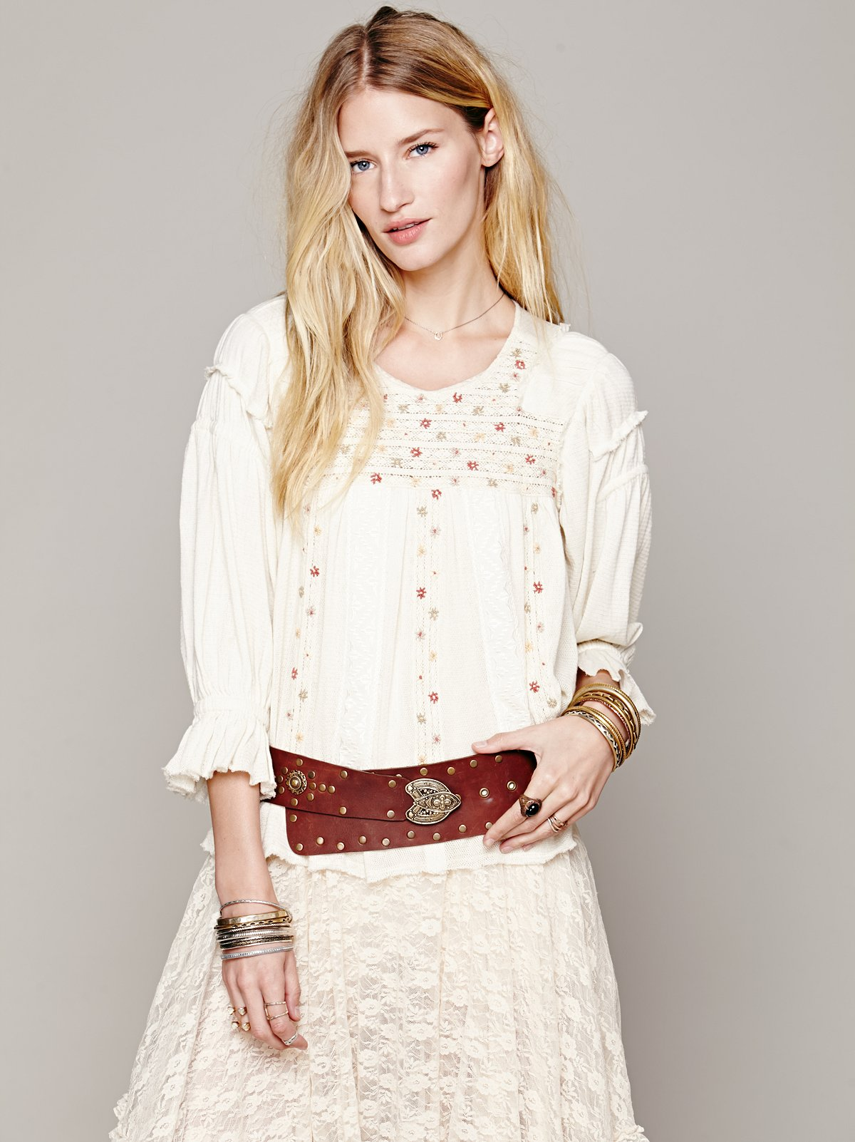 FP New Romantics Peasant Embroidered Blouse