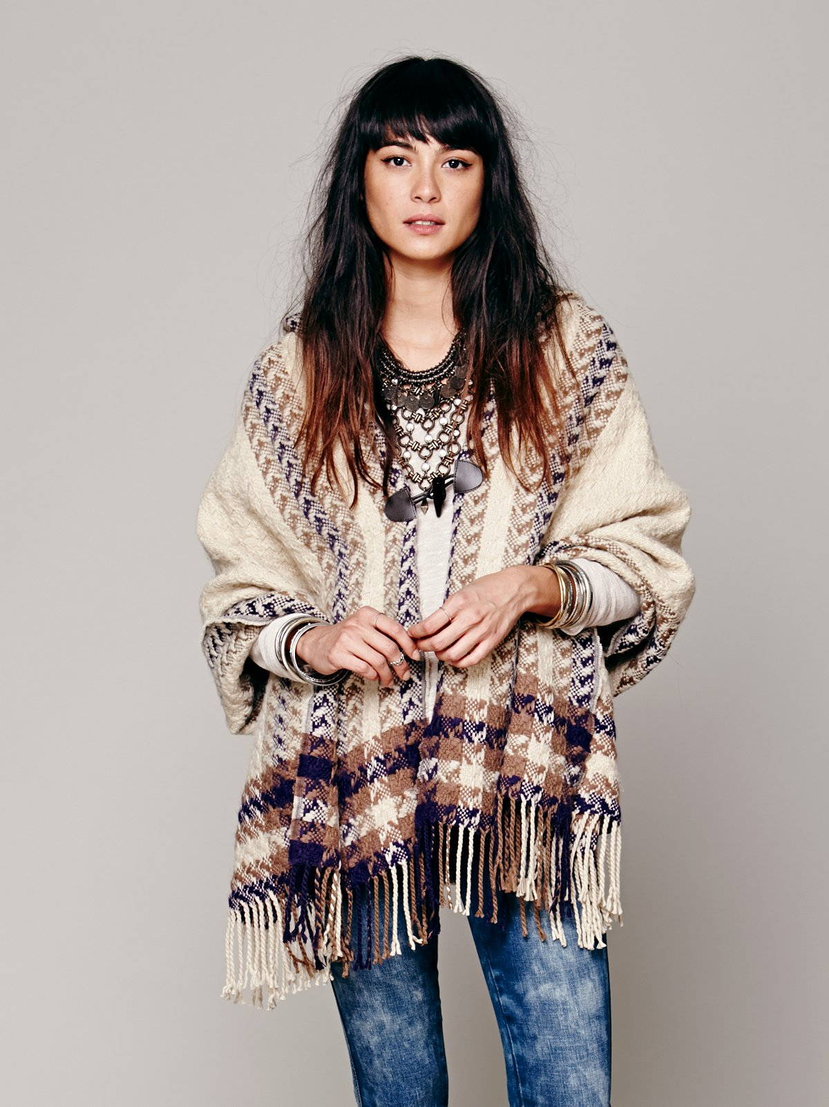 Striped Border Hooded Poncho