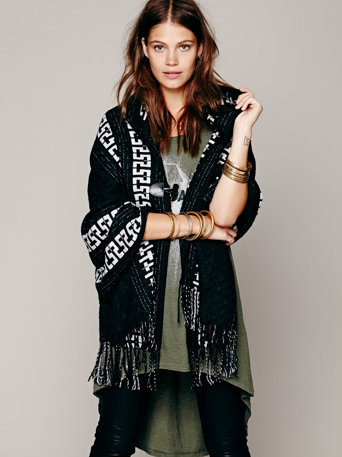 Geo Border Hooded Poncho