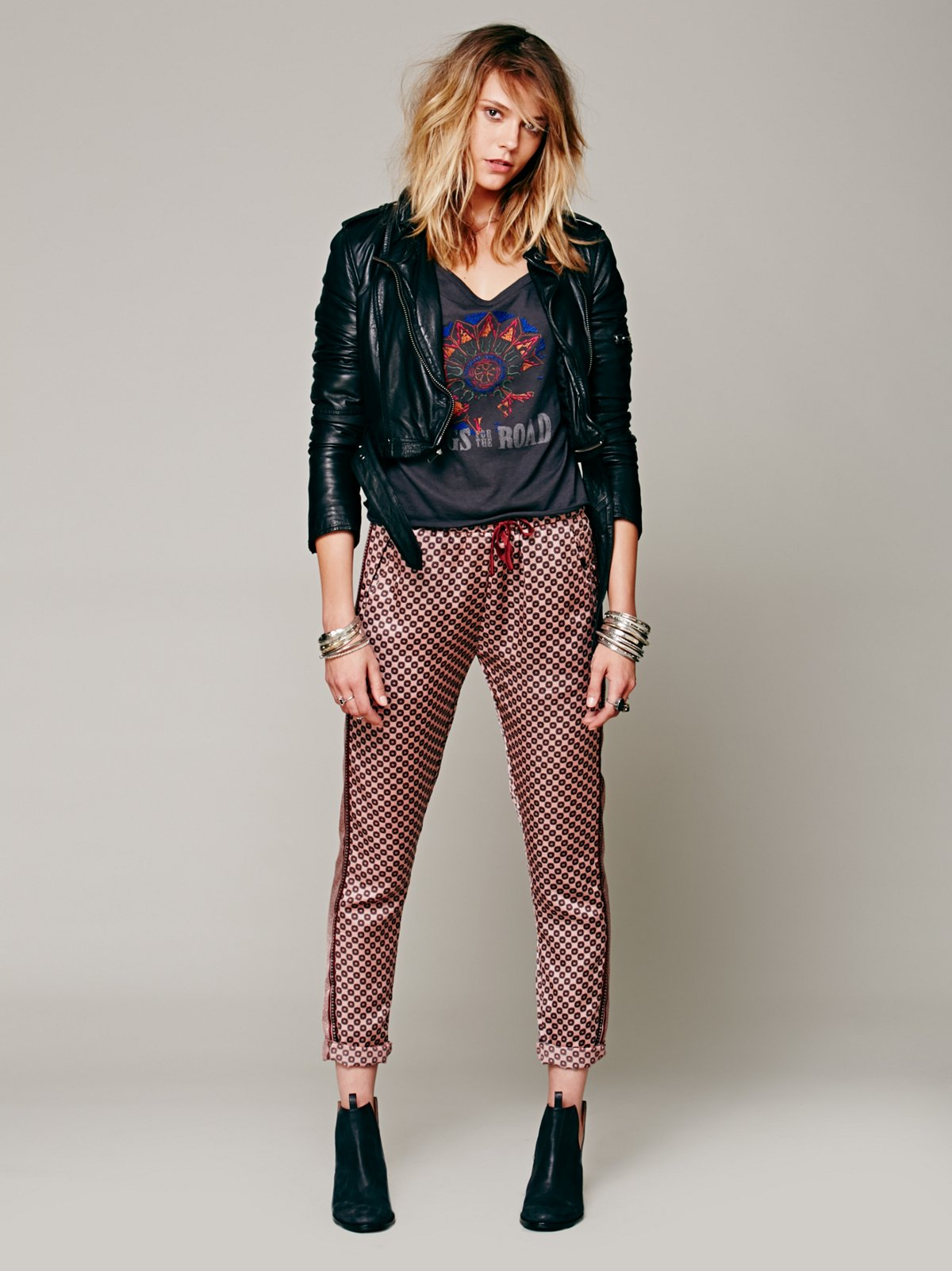 Mixed Print Relaxed Pant