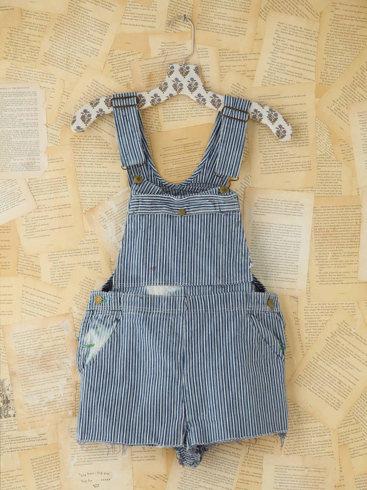 Vintage Railroad Stripe Overall Shorts