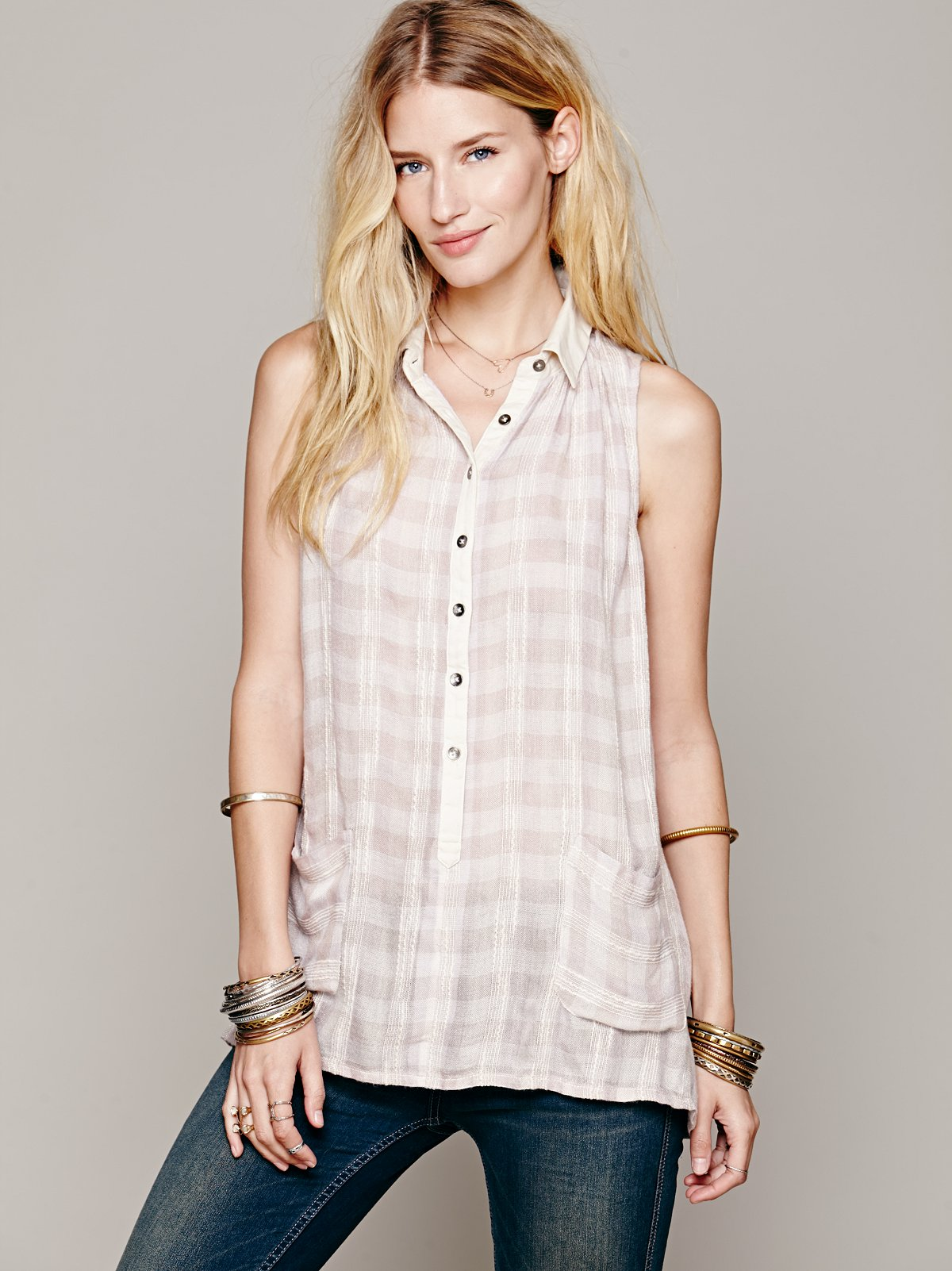 Sleeveless Plaid Textured Tunic