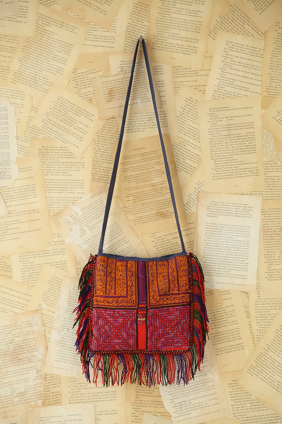 Vintage Embroidered Fringe Bag