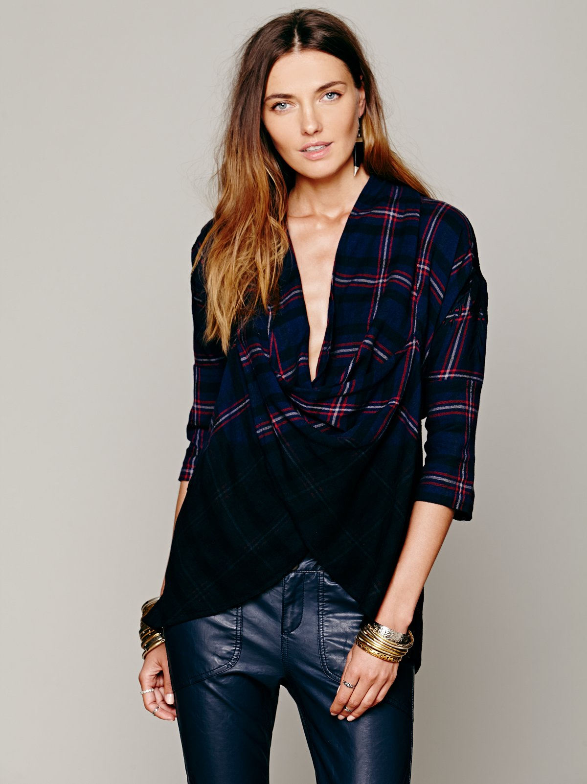 FP New Romantics Plaid Wrap Top