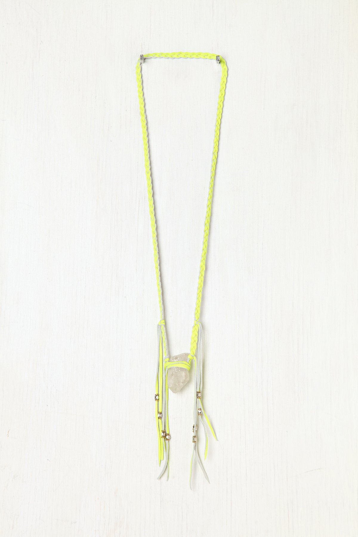 Neon Leather Braided Crystal Necklace