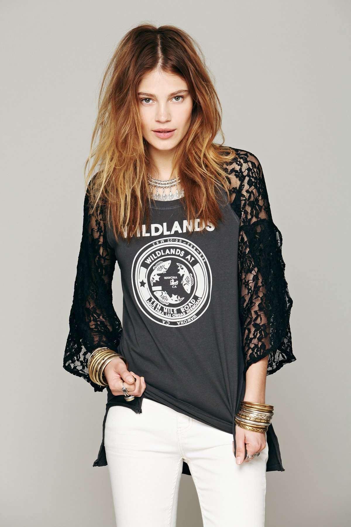 We The Free Pieced Lace Sleeve Tee