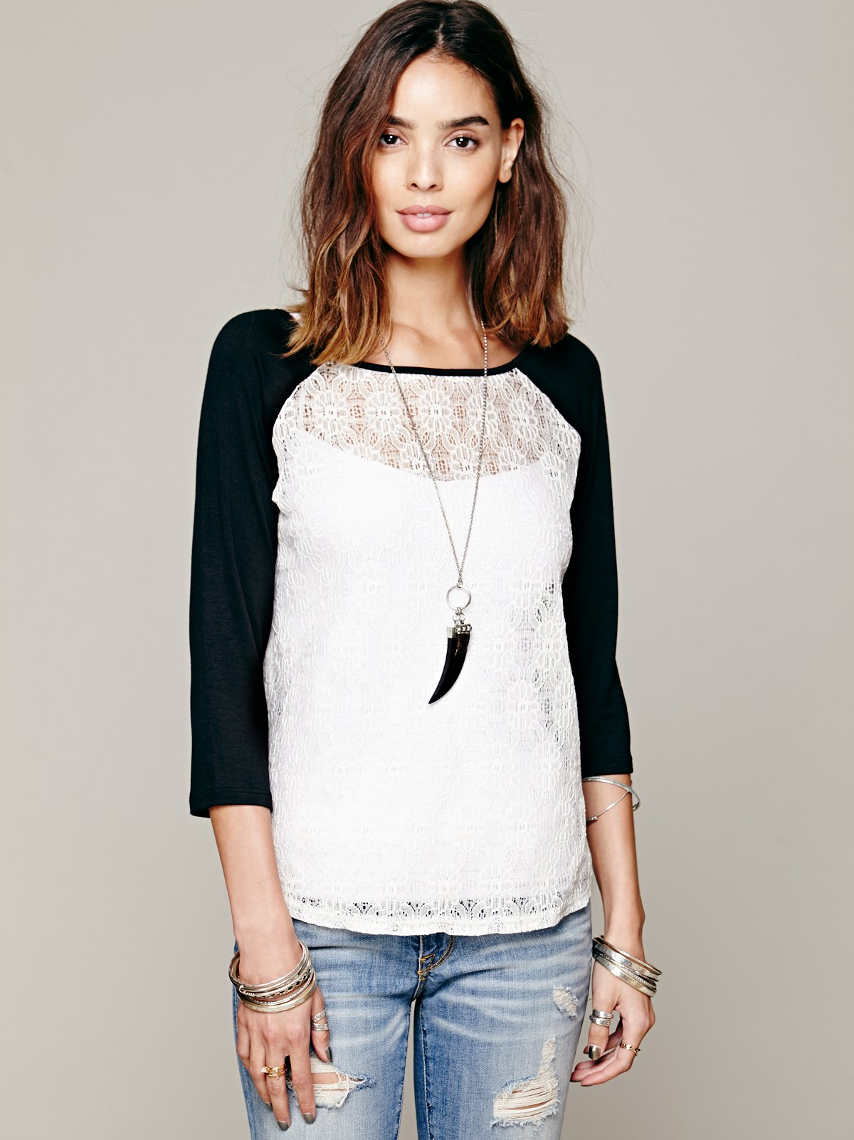 Lace Baseball 3/4 Sleeve Top
