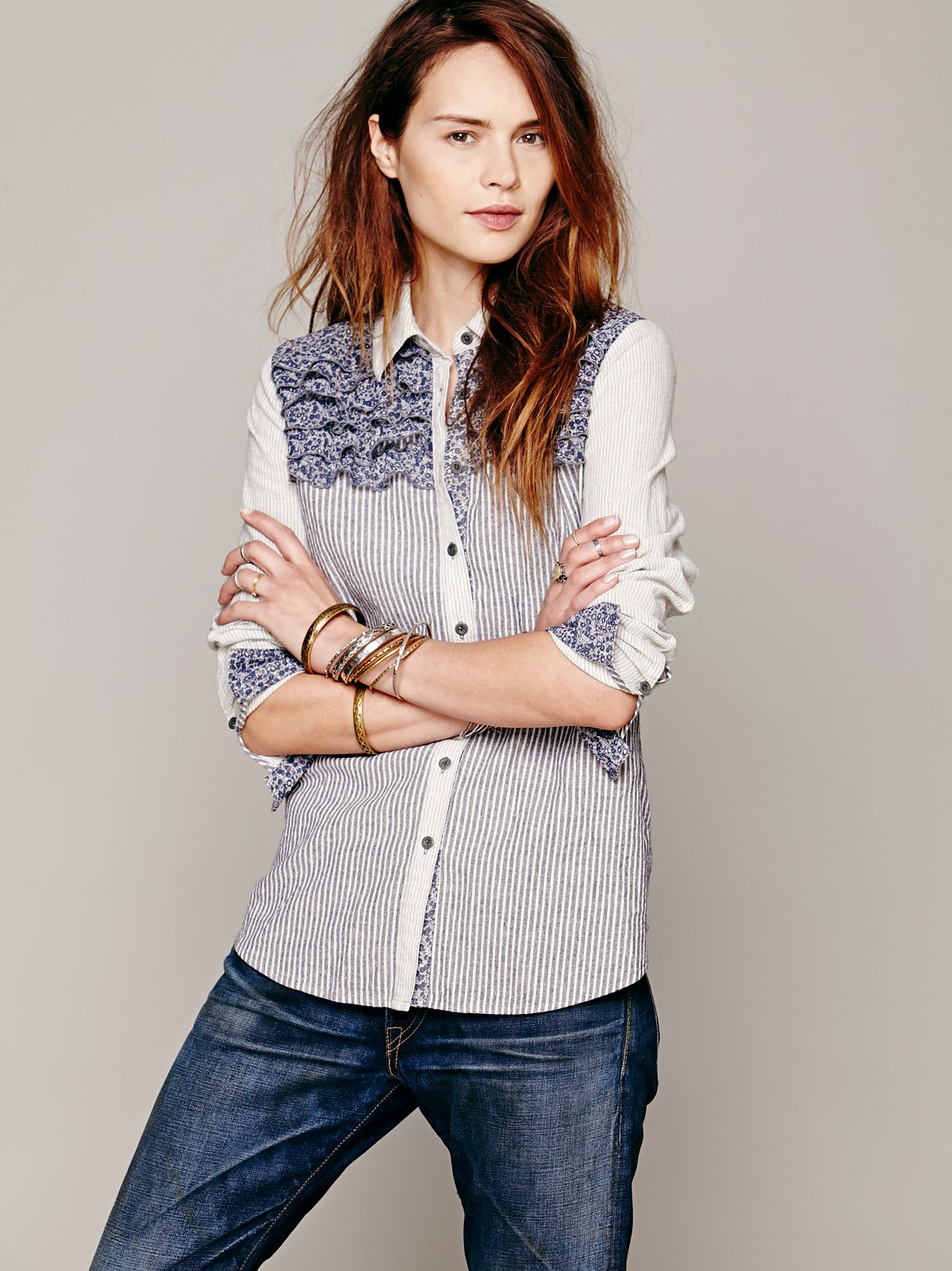Ruffled Stripe Buttondown