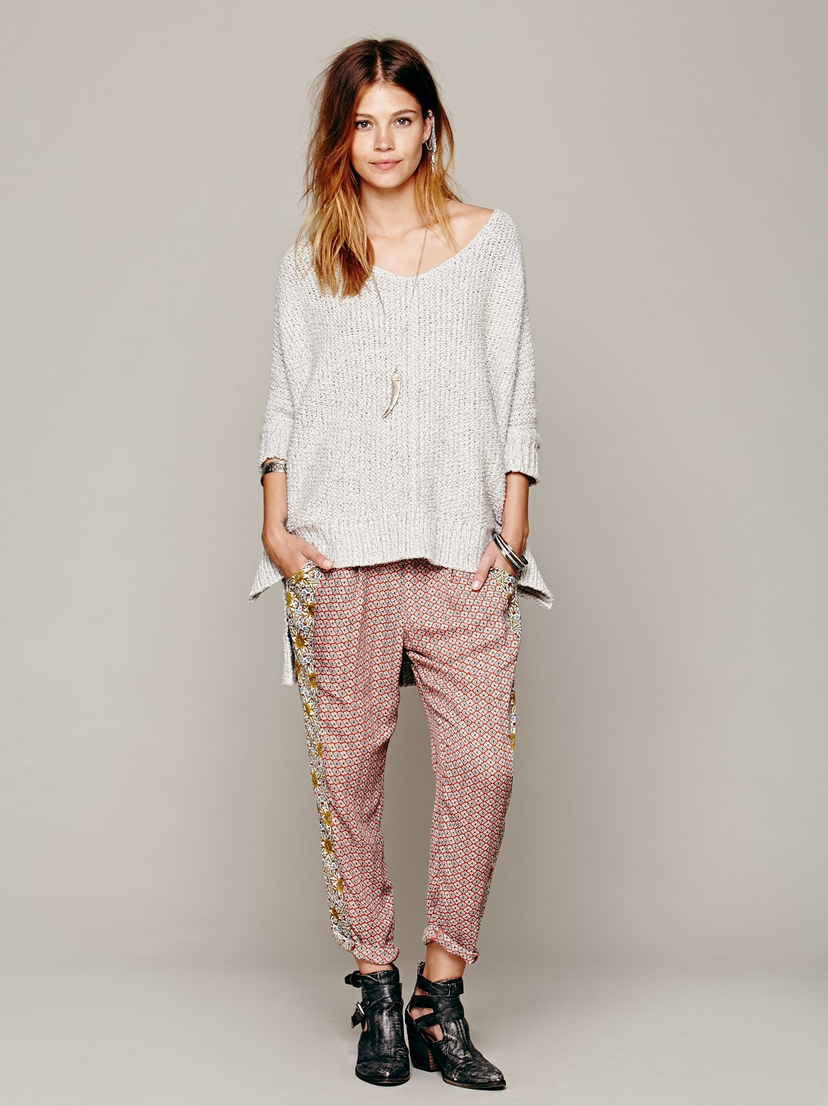 Mixed Print Easy Pleat Pants