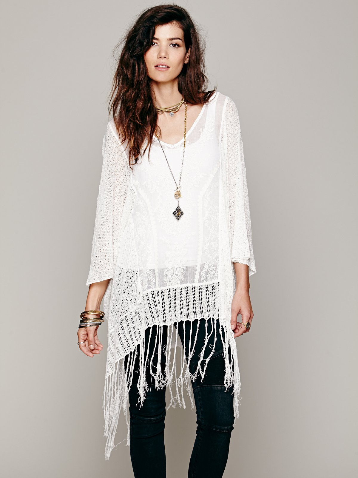 Embroidered Sheer Poncho