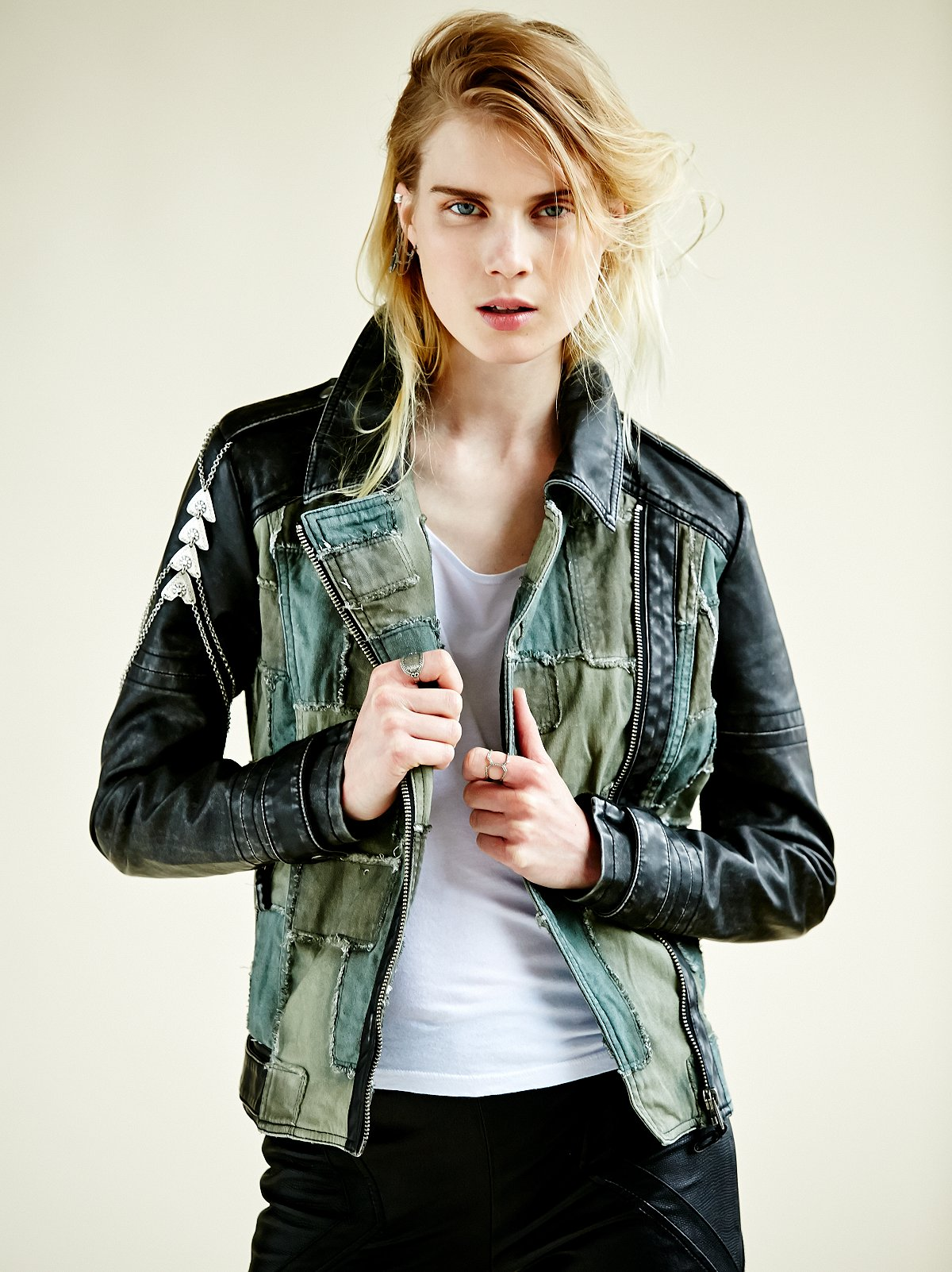 Patched Vegan Motorcycle Jacket