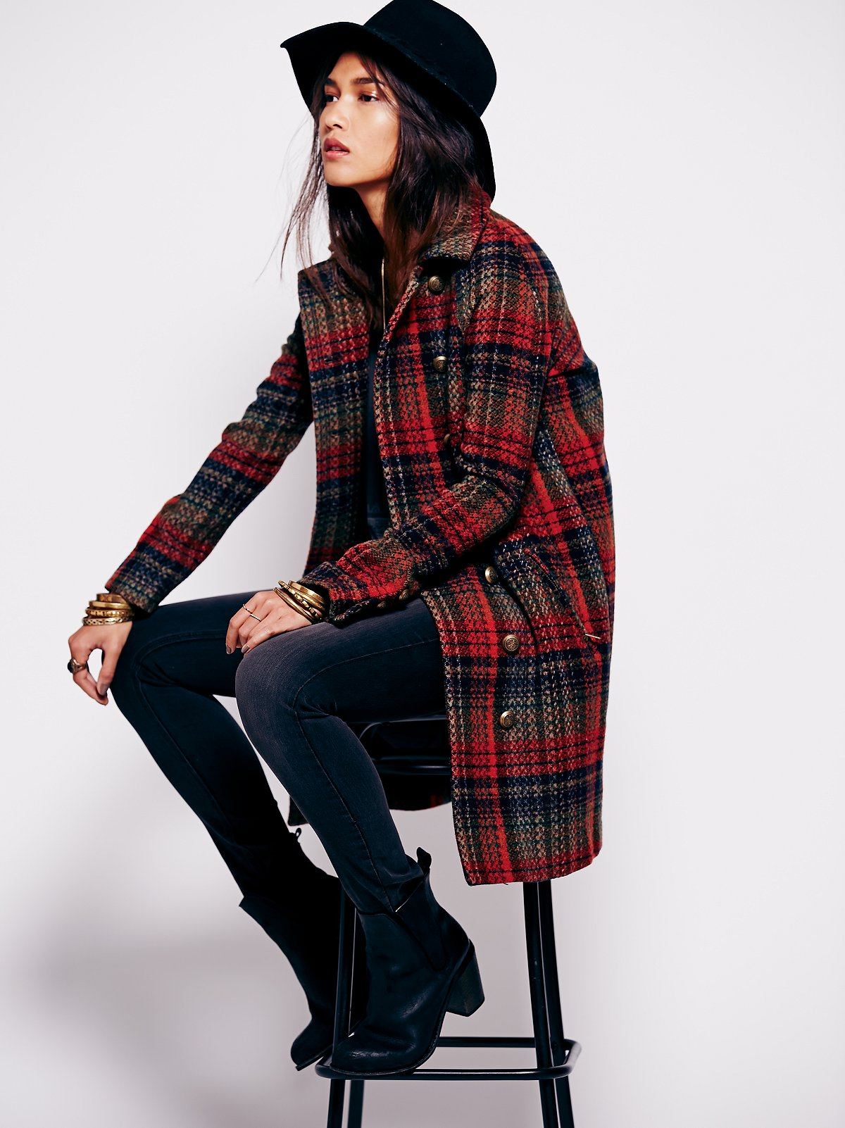 Plaid Cacoon Wool Coat