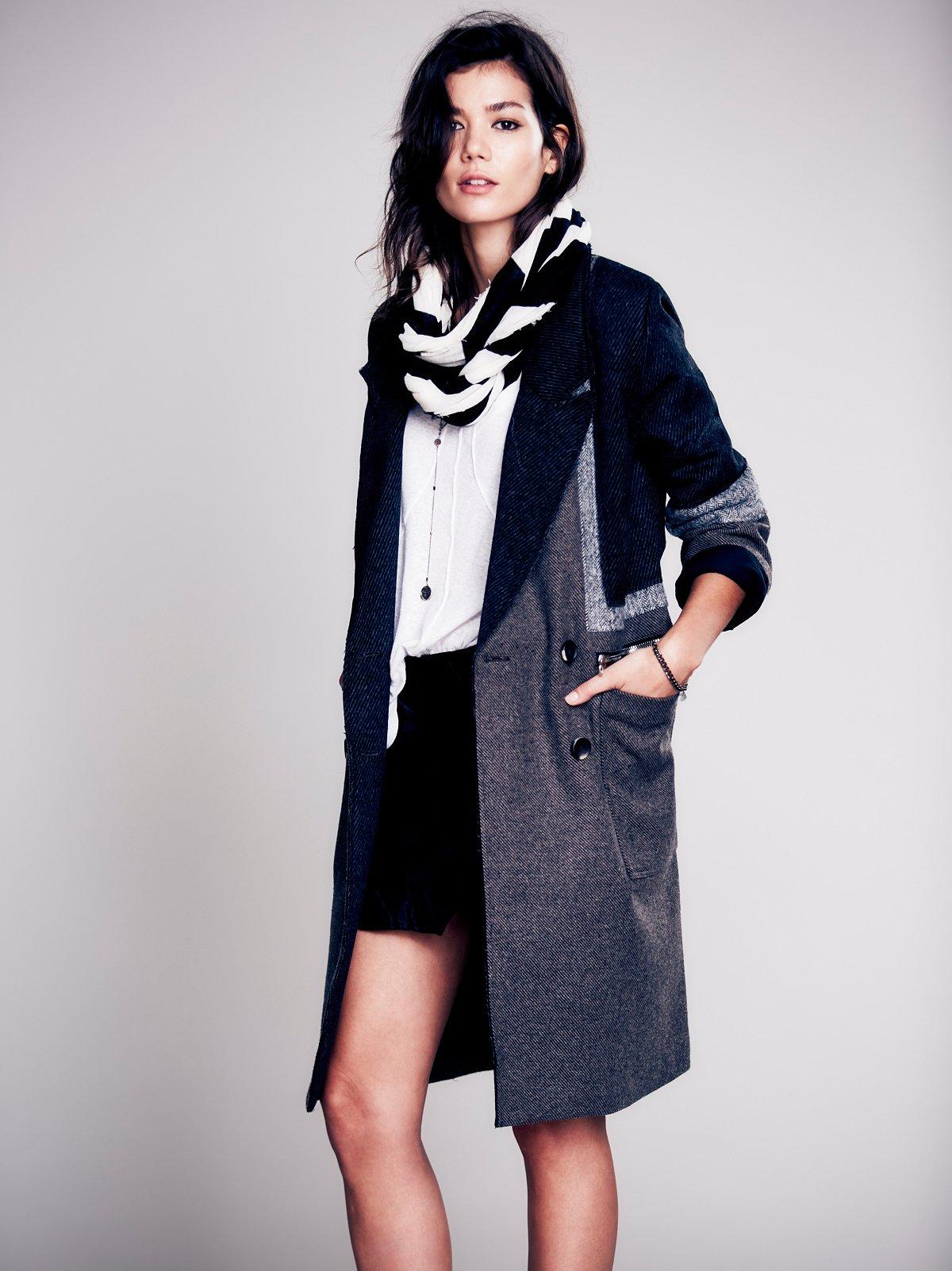 Colorblock Long Wool Coat