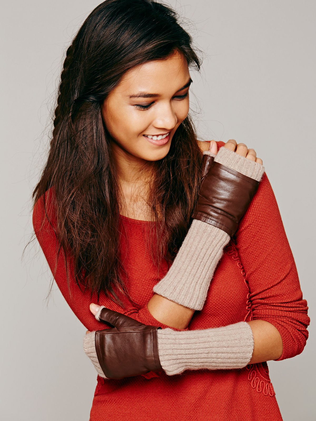 Leather Knit Fingerless Gloves