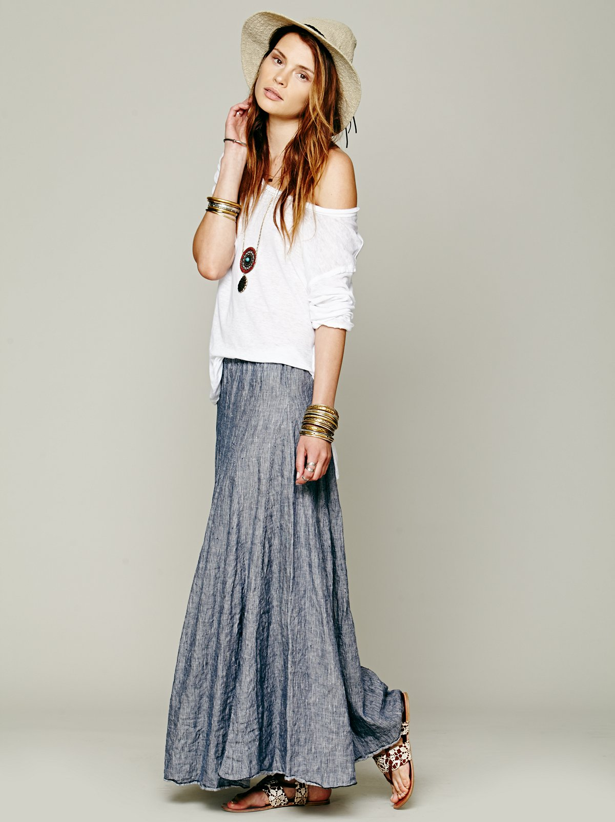 Worker Stripe Chambray Maxi