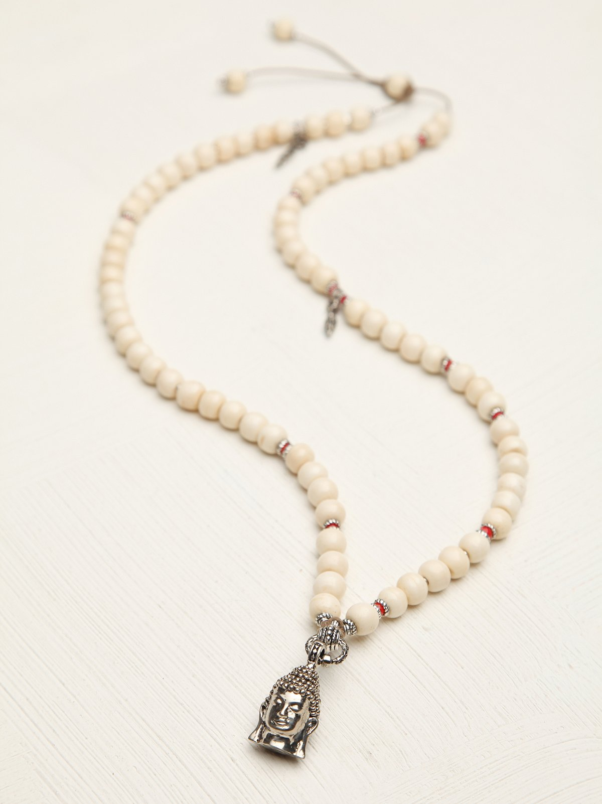 White Bead Buddha Necklace