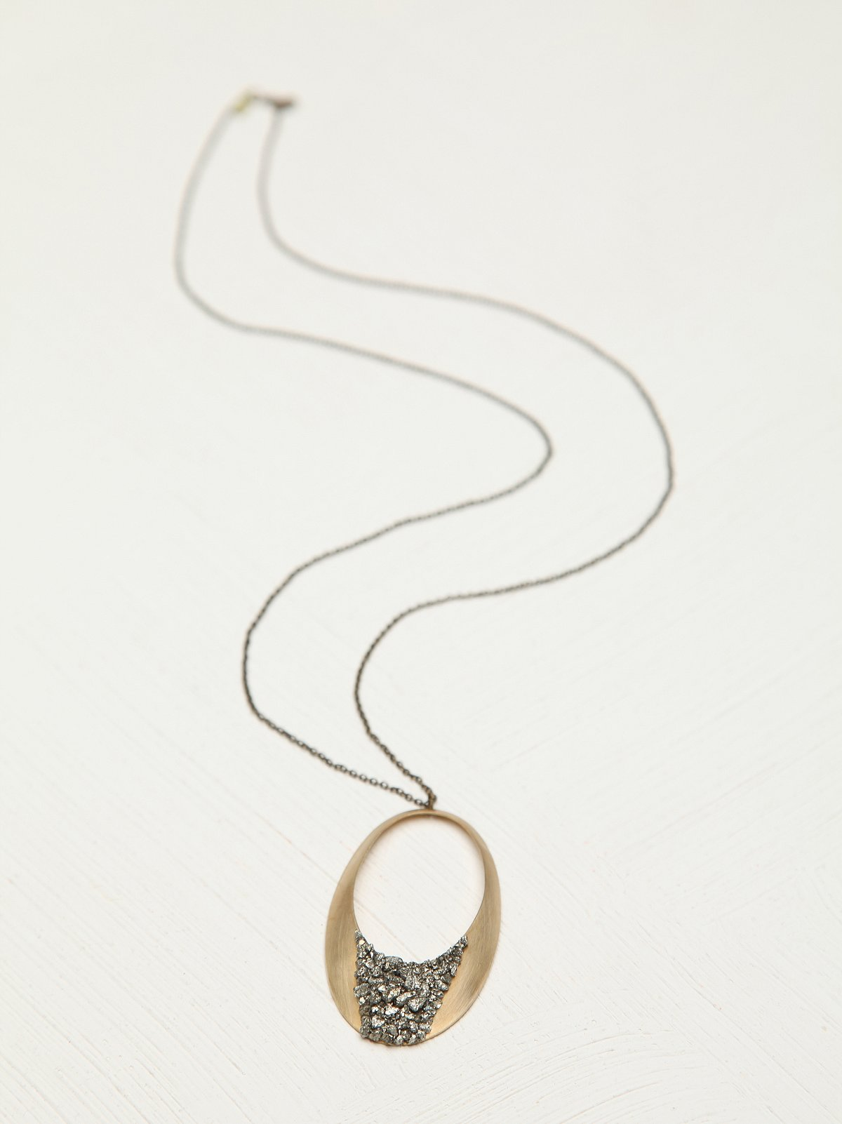 Stone Topped Circle Necklace