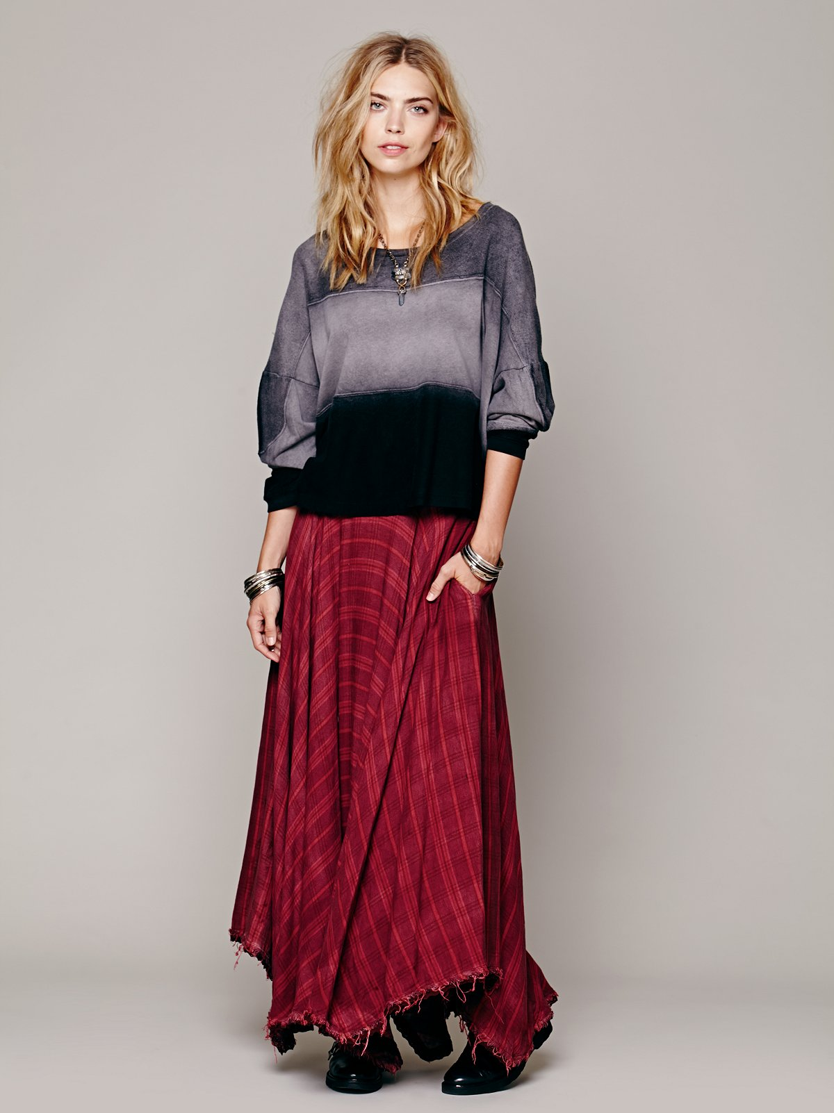 Gauzy Wool Plaid Maxi