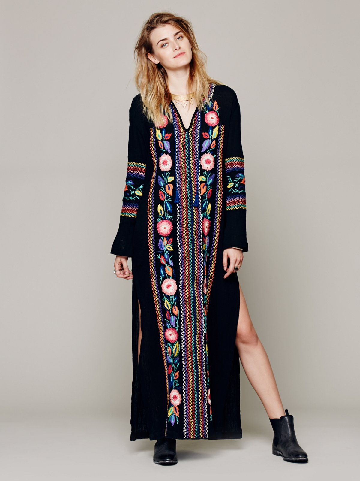 Cocoa Embroidered Kaftan