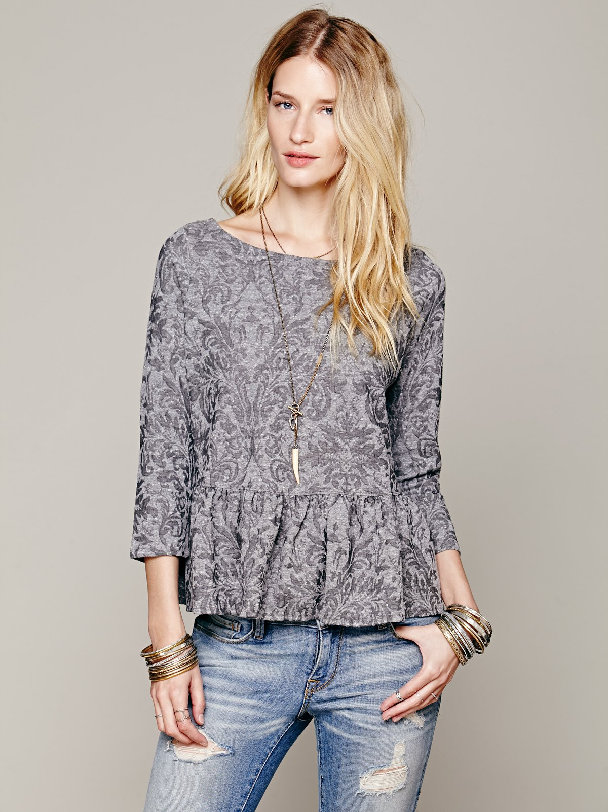 Textured Boxy Peplum Top