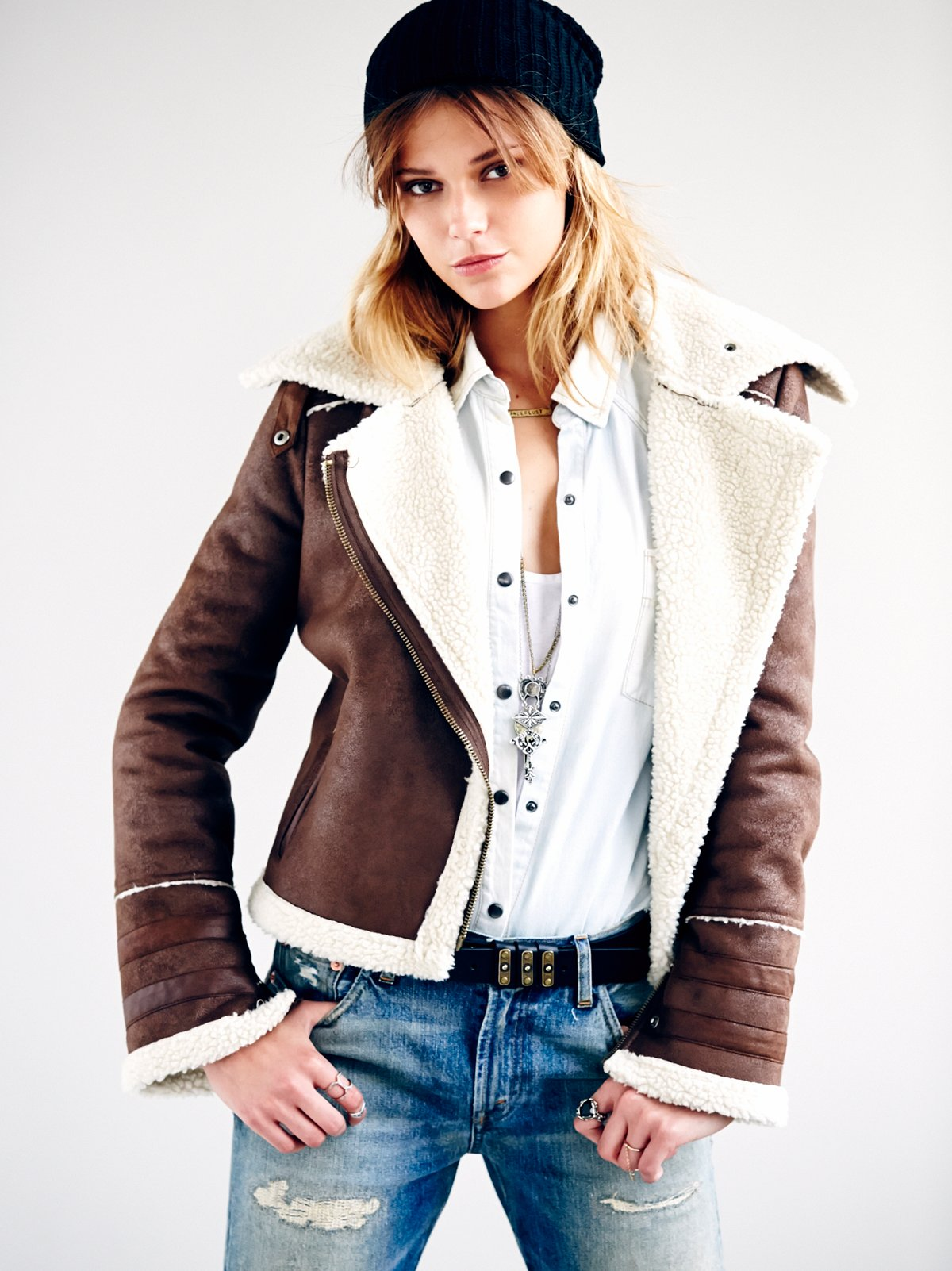 Vegan Shearling Motorcycle Jacket
