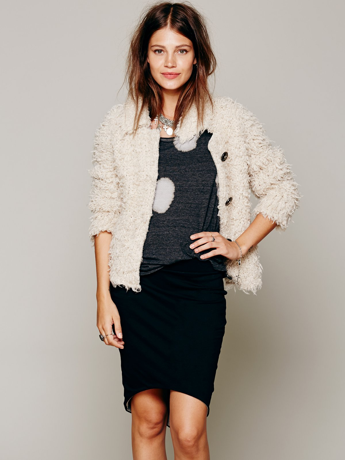 Two Tone Reversible Knit Skirt