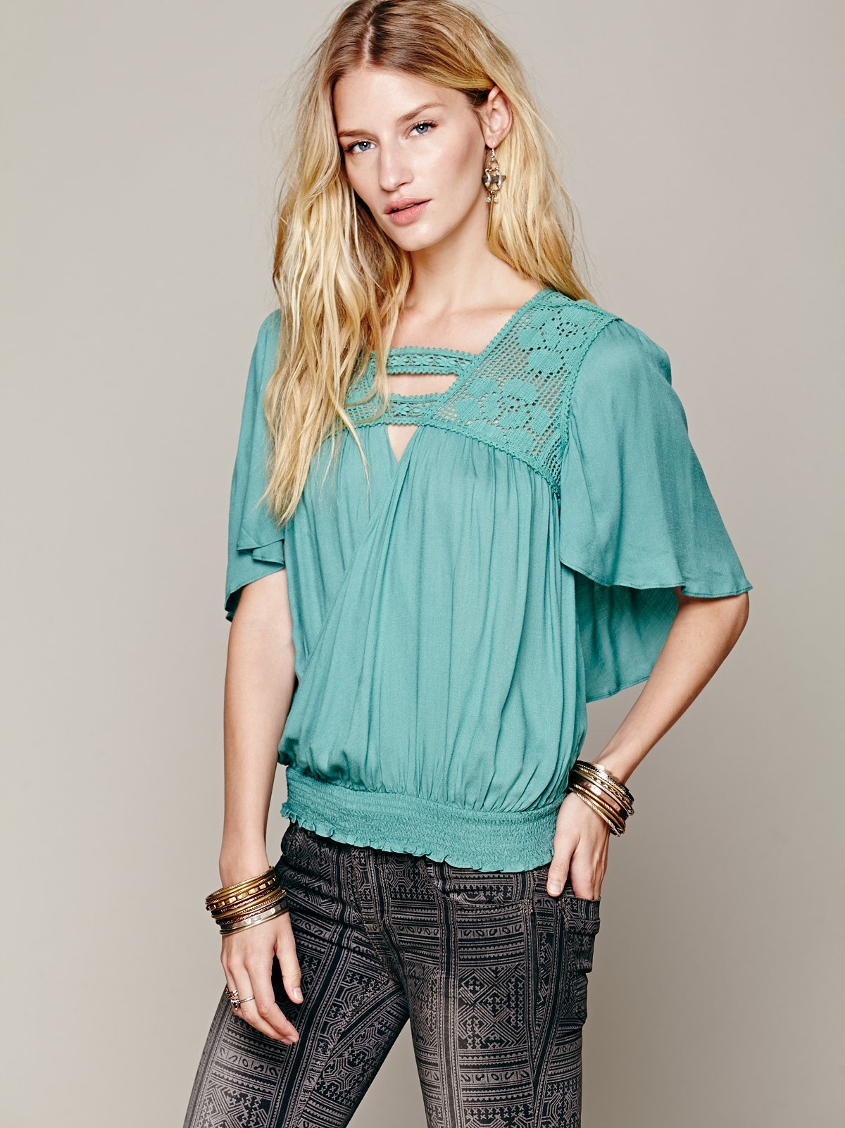 Drippy Wrap Banded Top