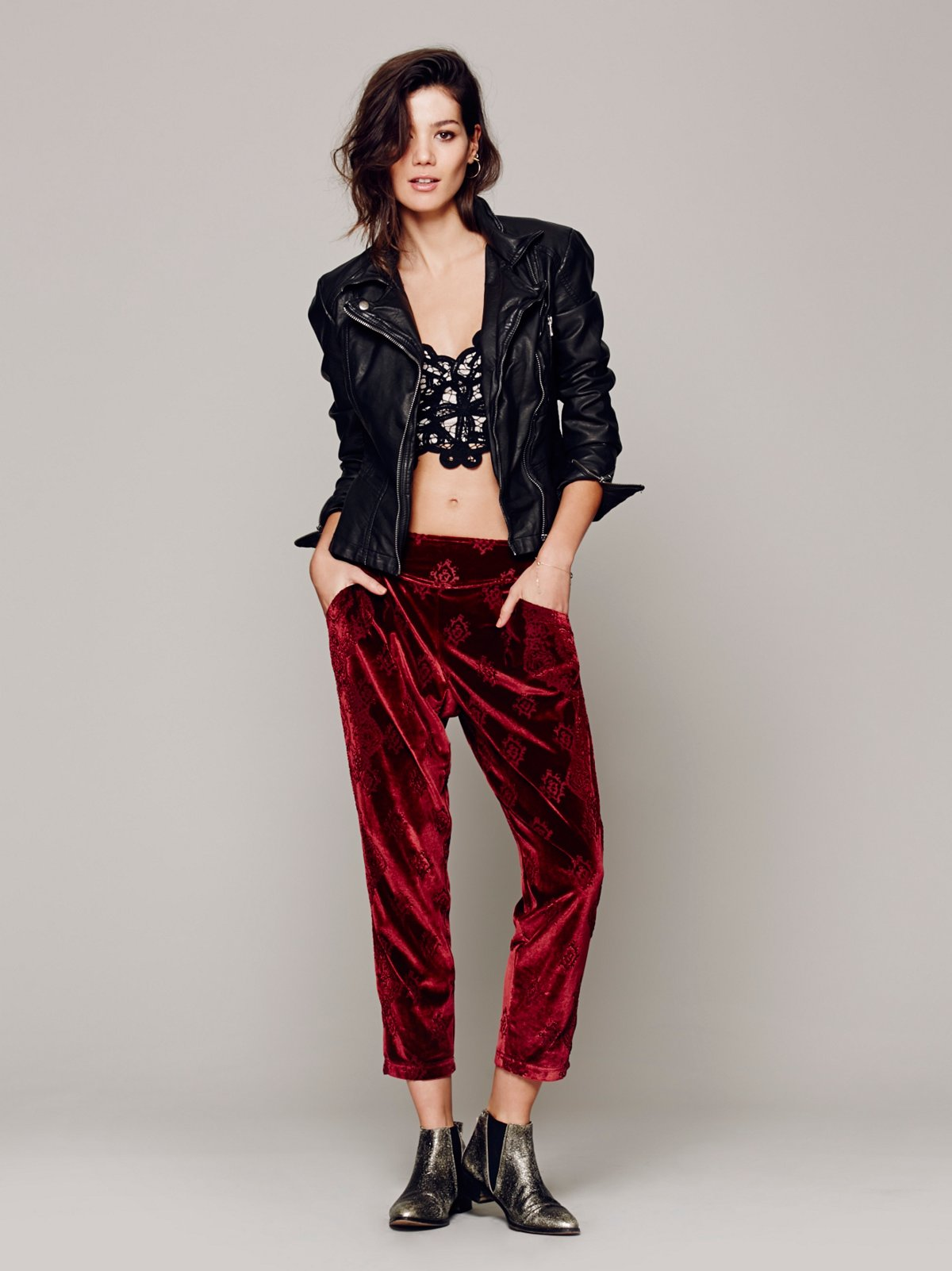 Burnout Velvet Pleat Pant