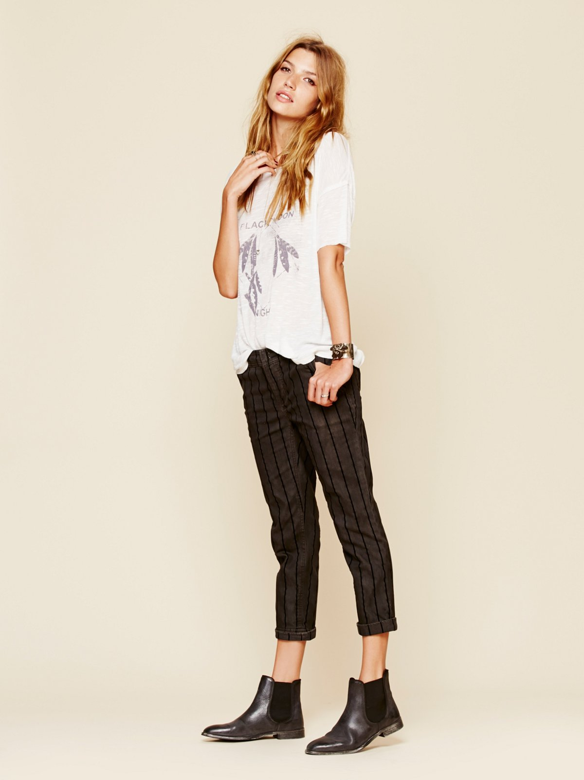 Flocked Stripe Trouser