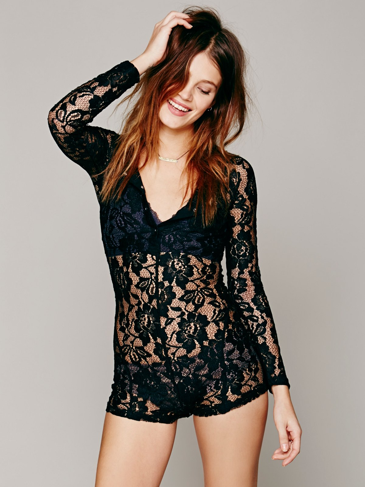 Lace Henley Union Romper