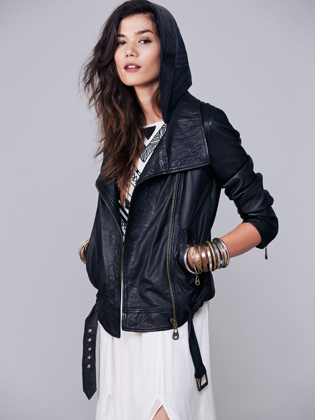 Hooded Biker Leather Jacket