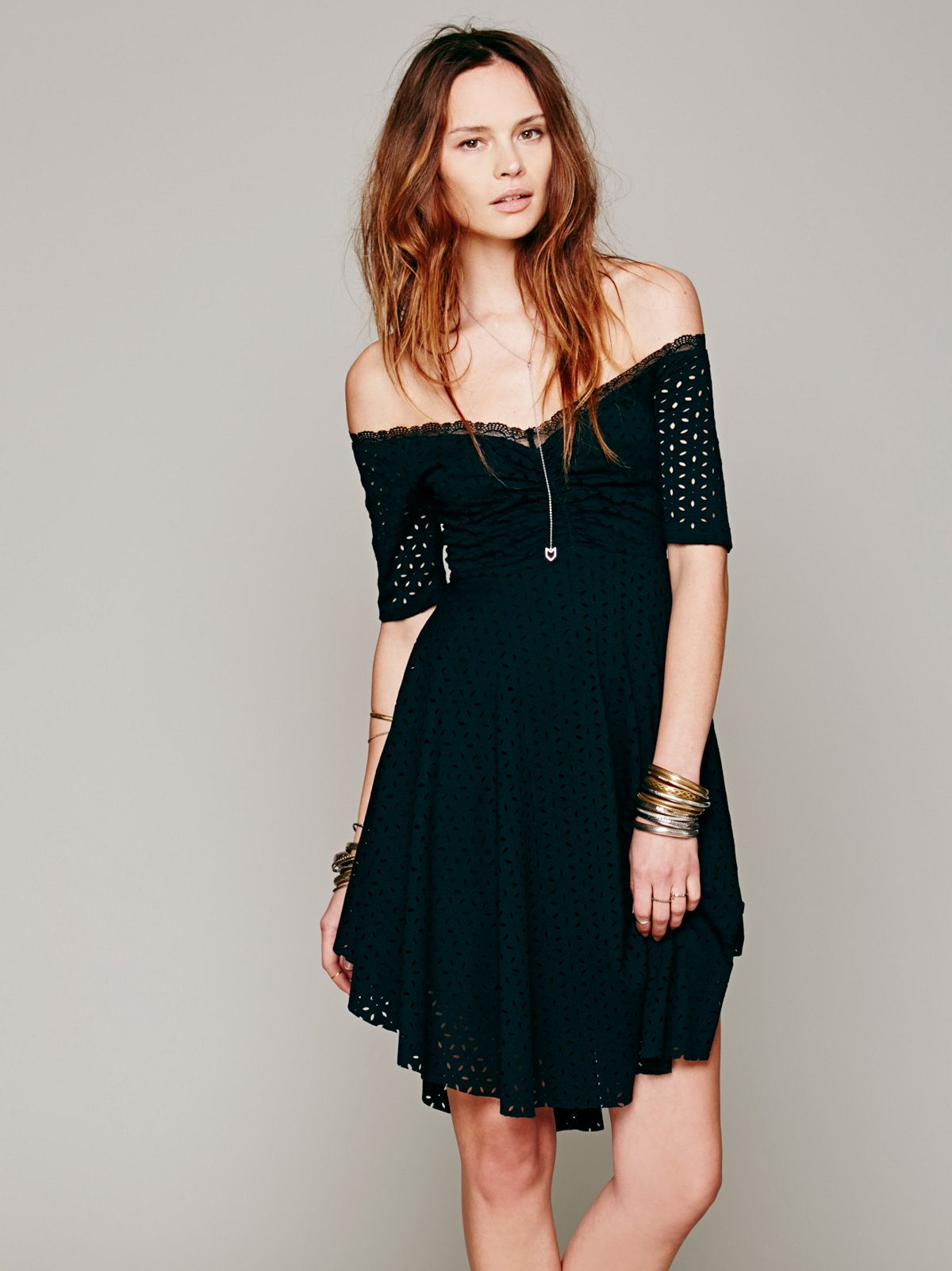 Burnout Eyelet Off The Shoulder Dress