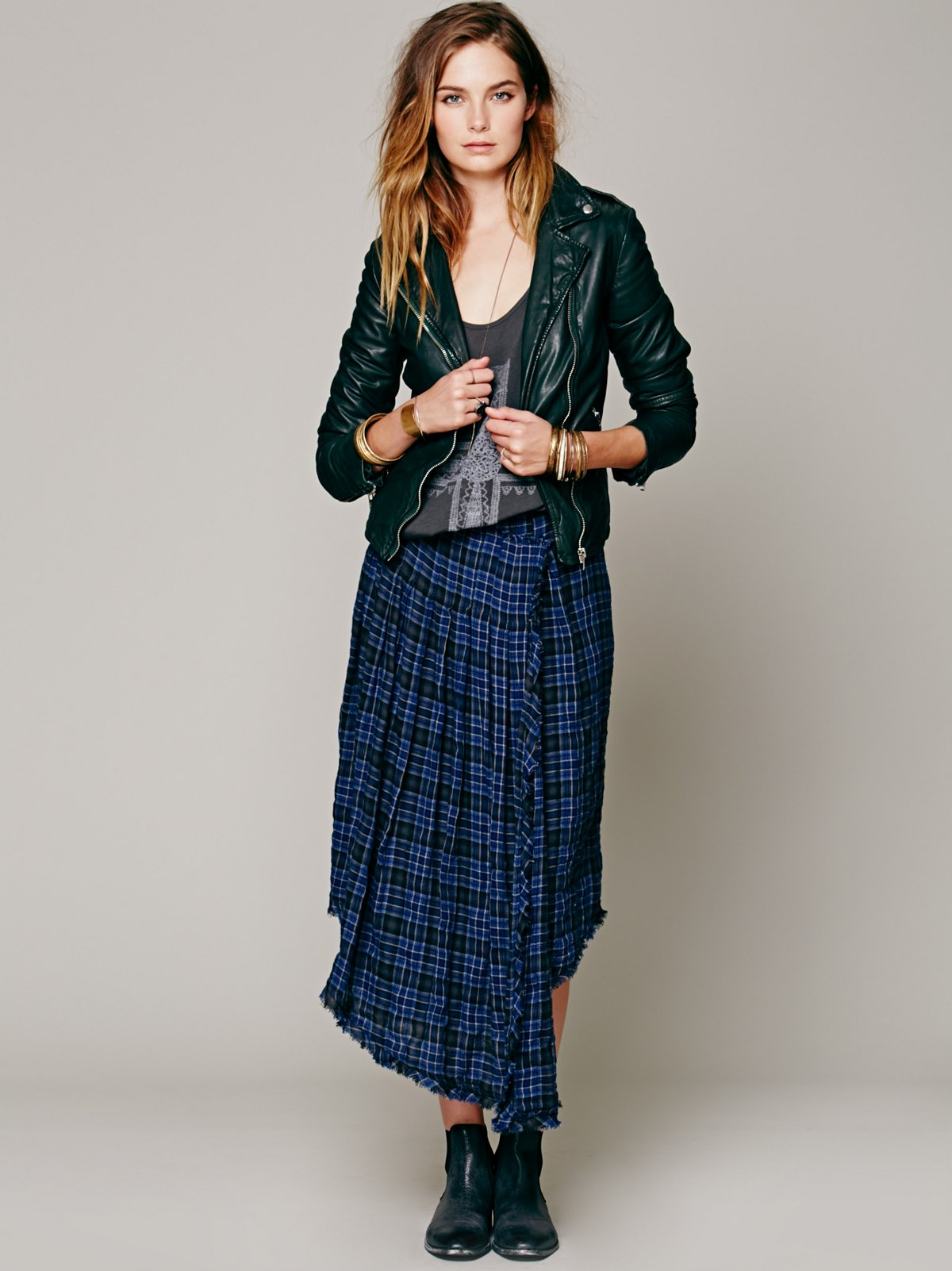Tartan Tea Length Skirt