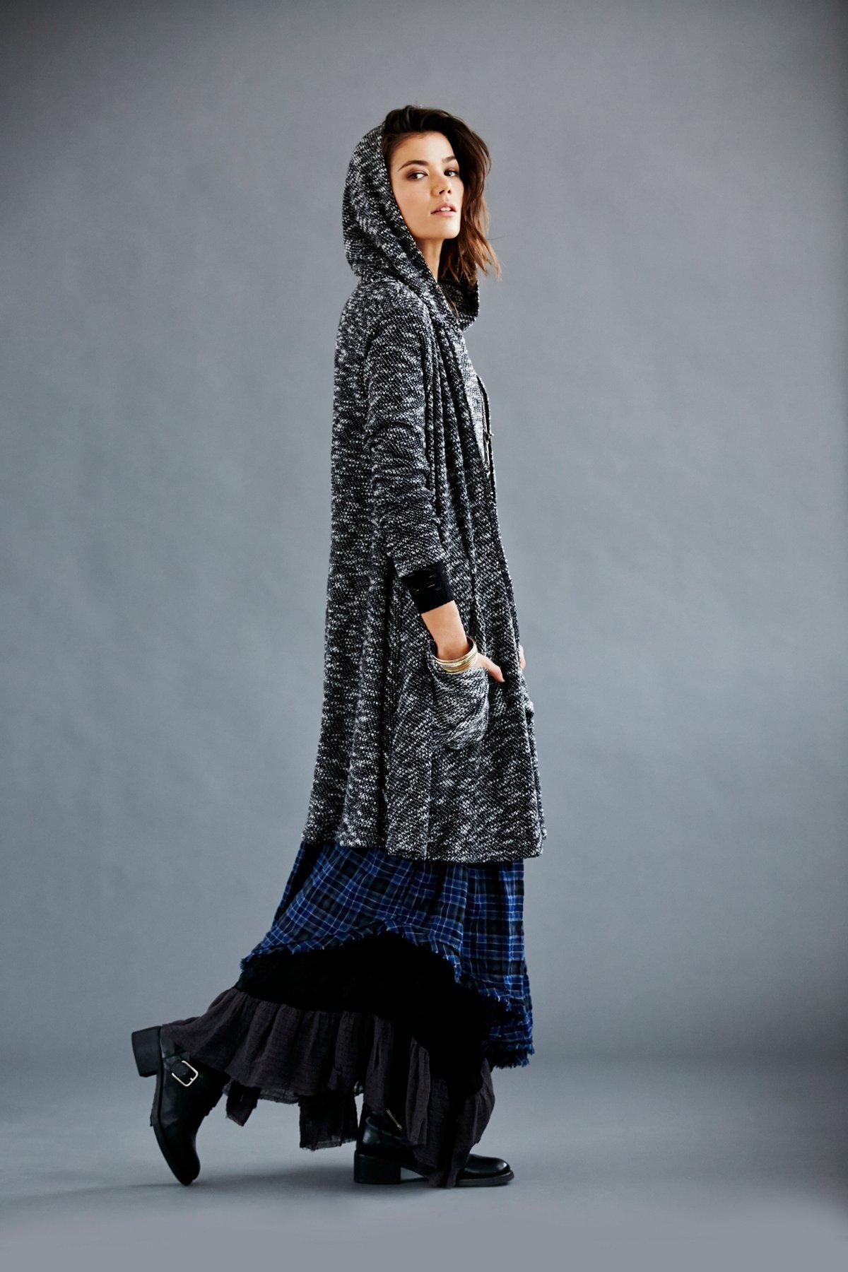 Marled Yarn Hooded Drapey Jacket
