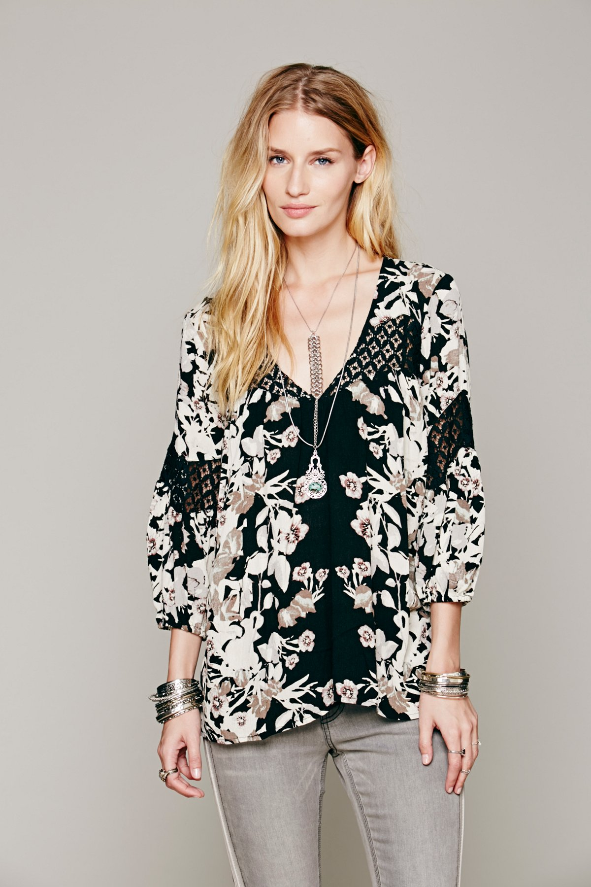 Floral Printed Bubble Sleeve Tunic