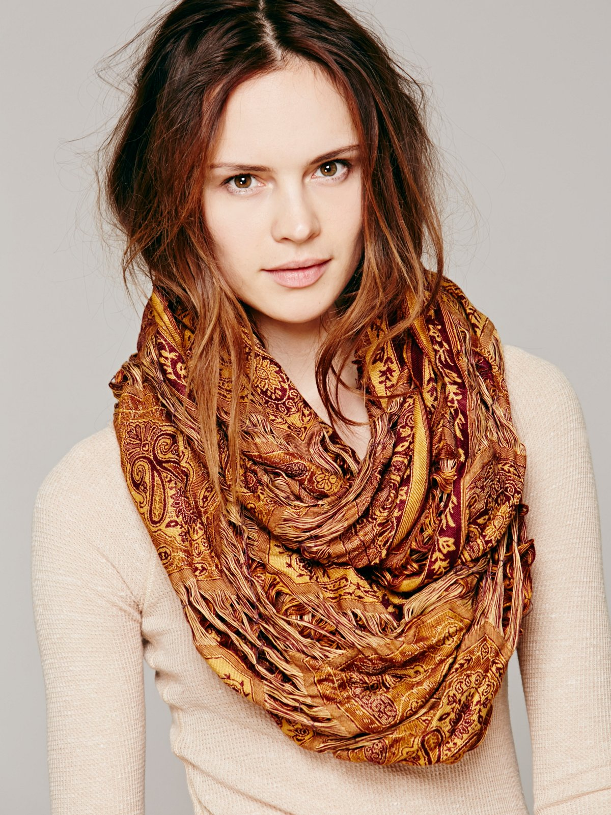 Tattered Paisley Loop Scarf