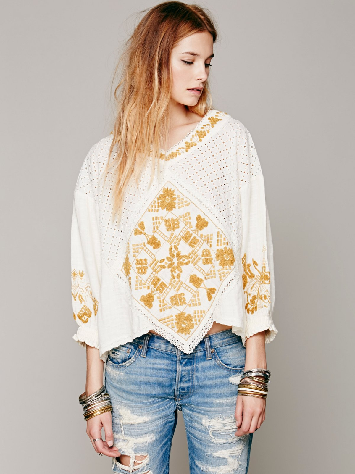 FP New Romantics Crochet Inset Top