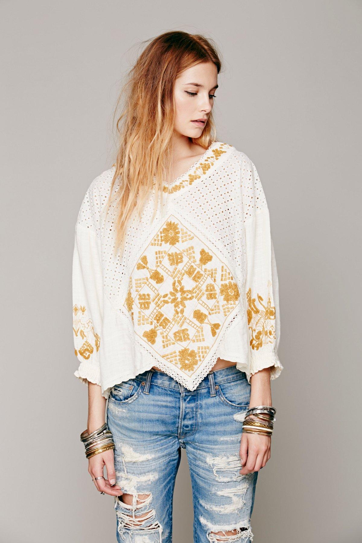 FP New Romantics Crochet Inset Top