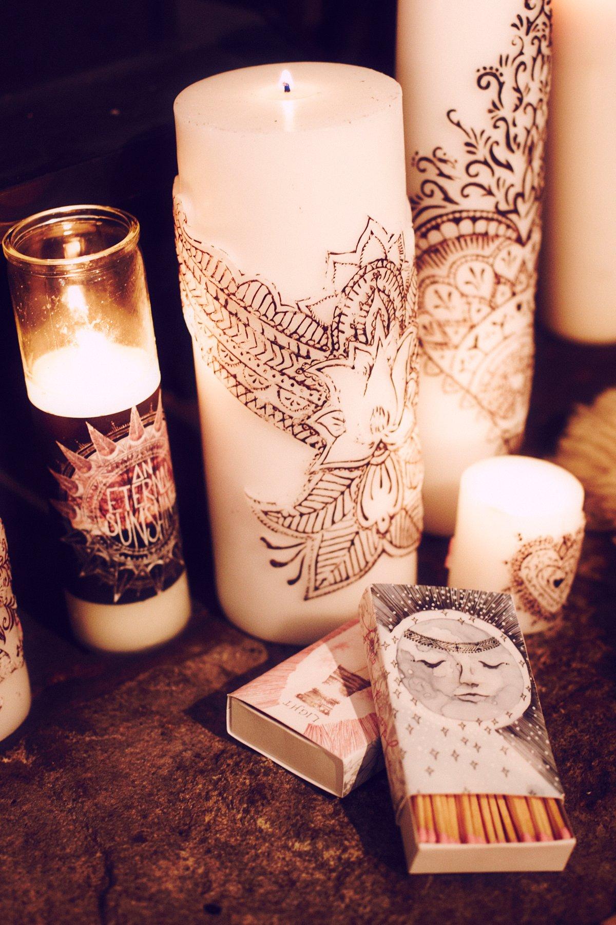 Henna Lotus Pillar Candle