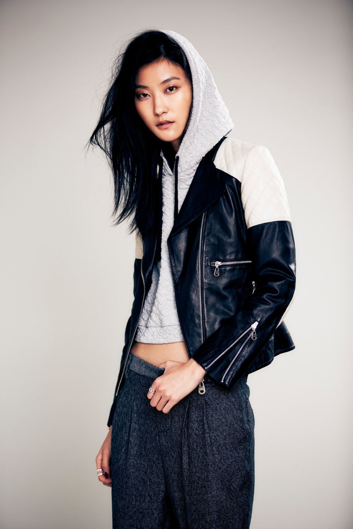 Doma Leather Quilted Colorblock Jacket