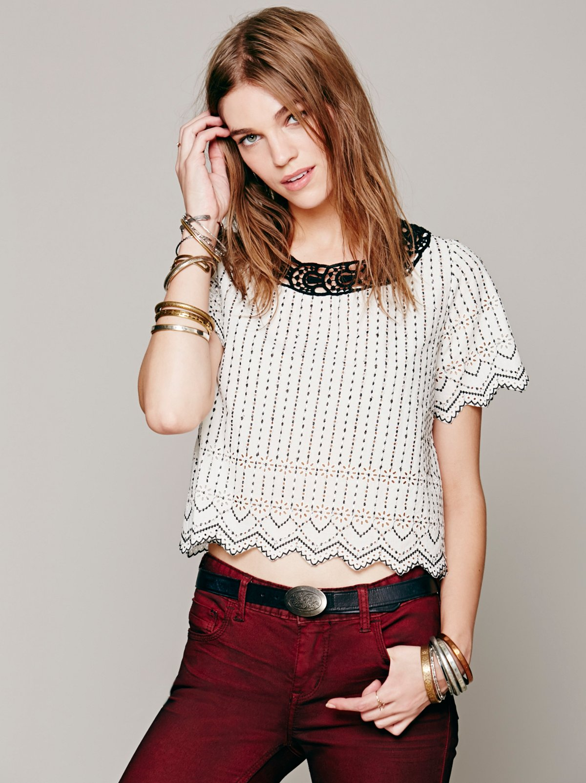 Stripe Eyelet Crop Top