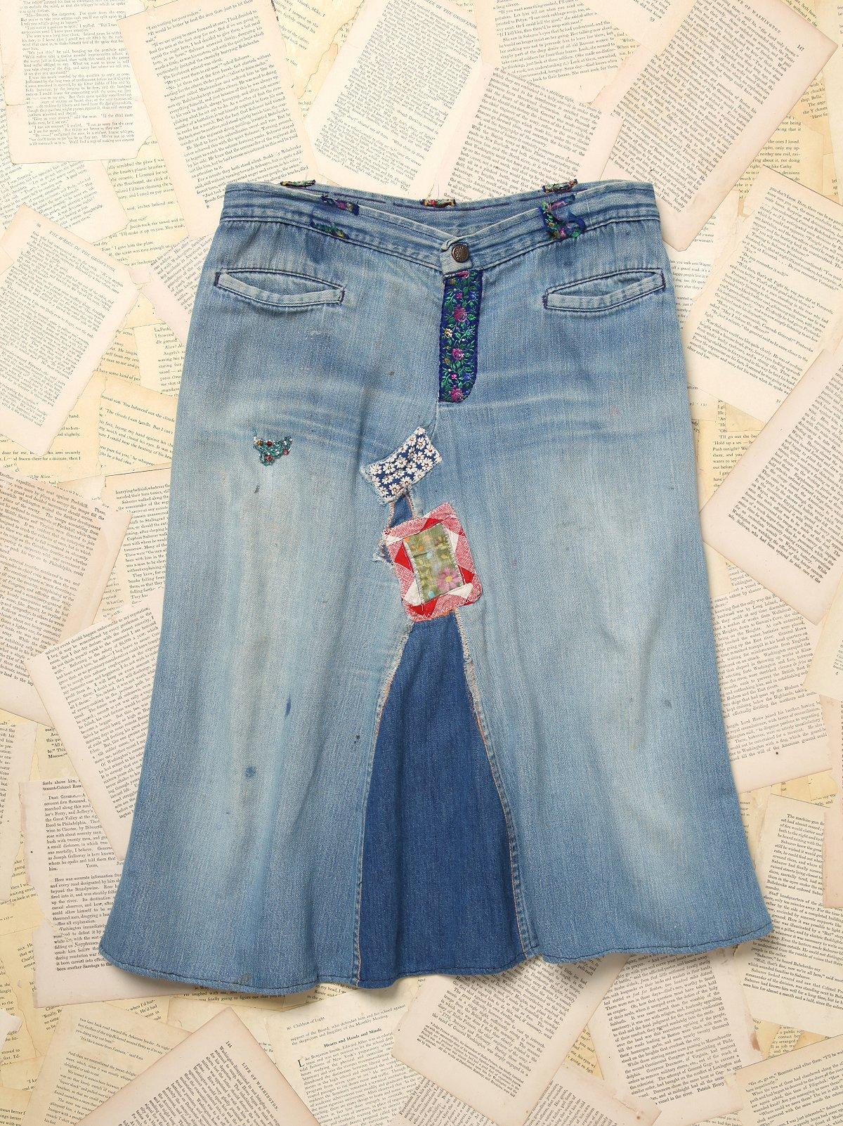 Vintage 3/4 Length Patchwork Denim Skirt