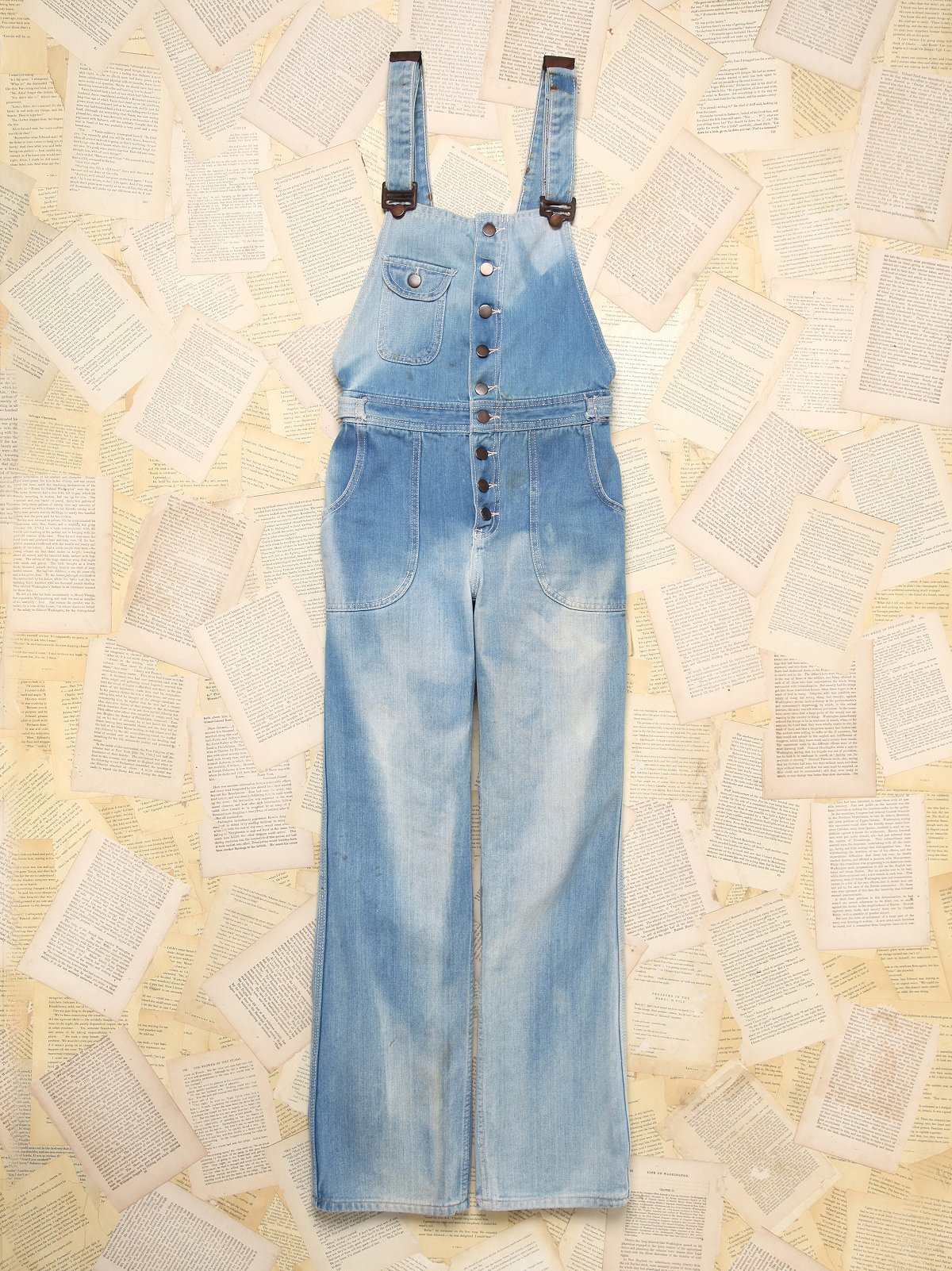 Bleached Denim Overalls