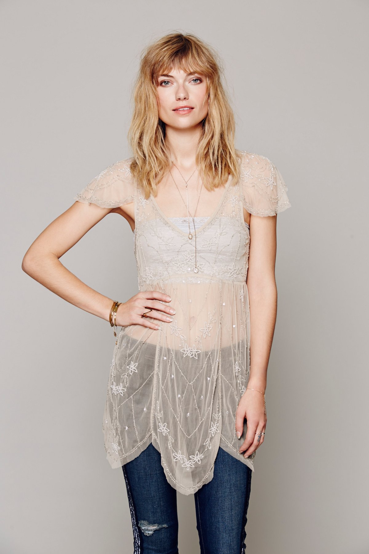 Embellished Flutter Sleeve Sheer Tunic