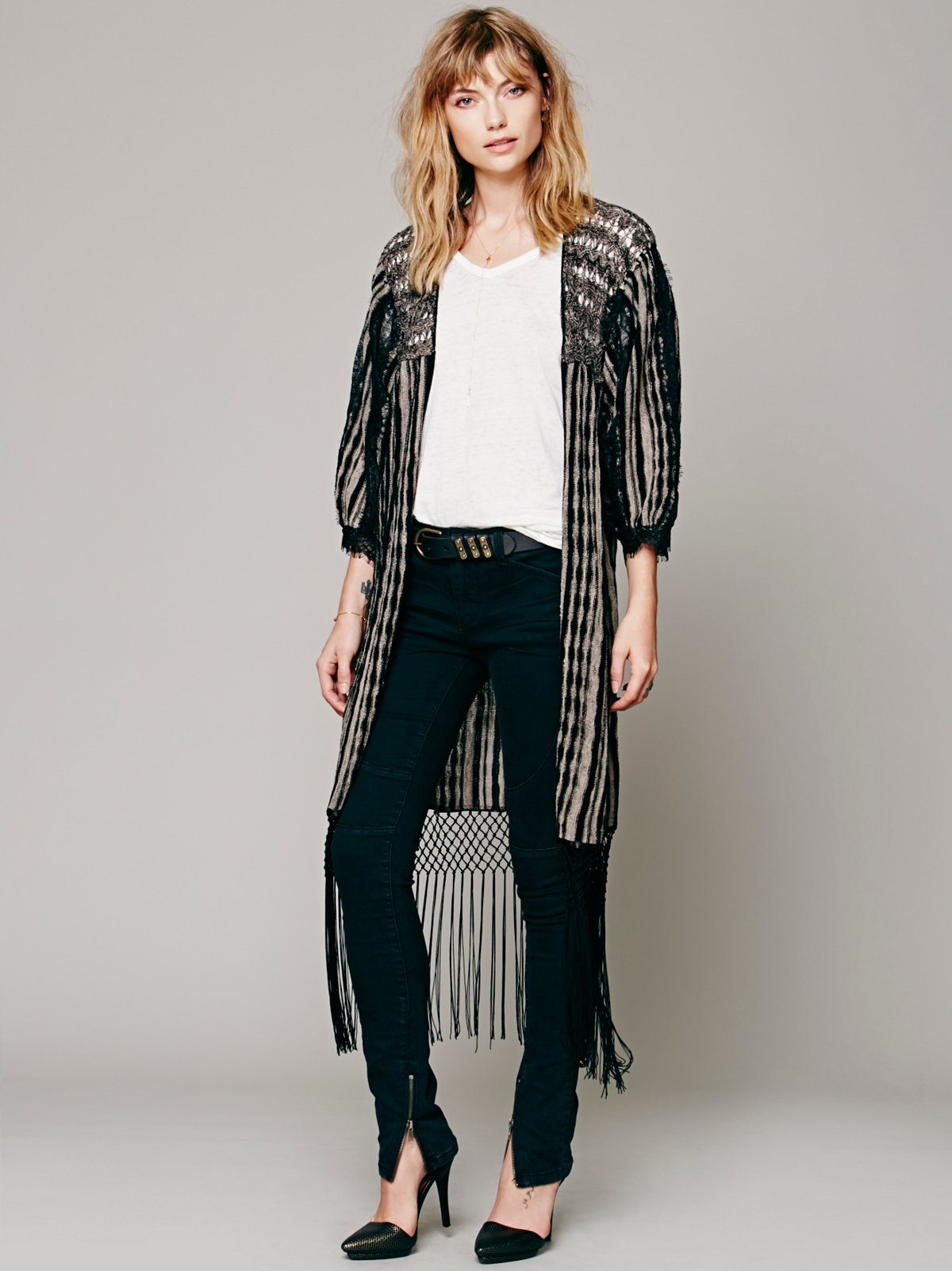 Fringed Lines Cardigan
