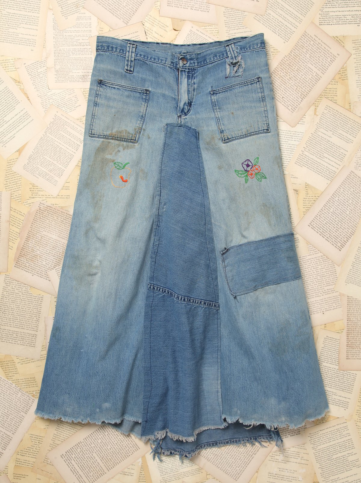 Vintage Patchwork Denim Maxi Skirt