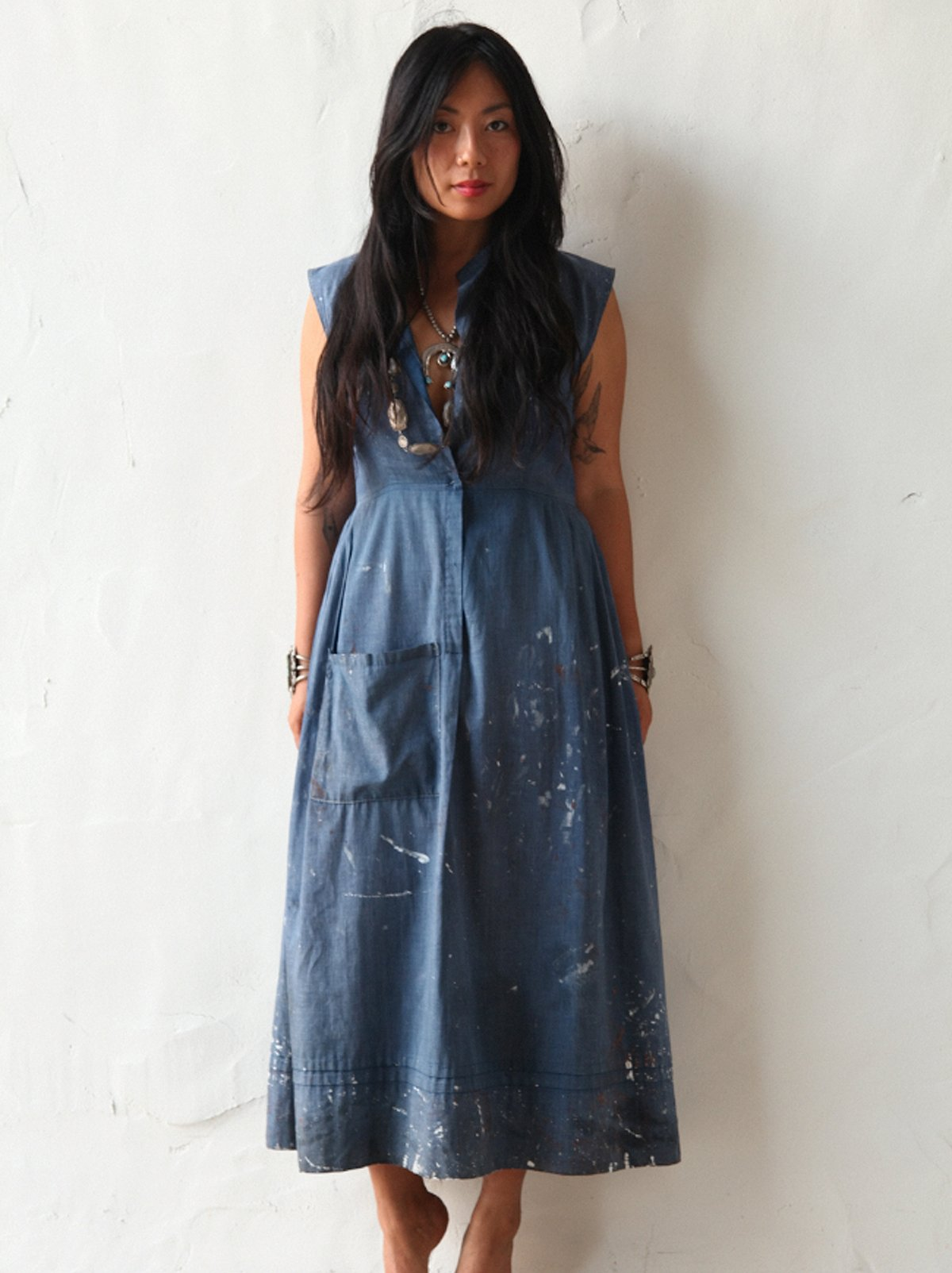 Vintage Dress with Paint