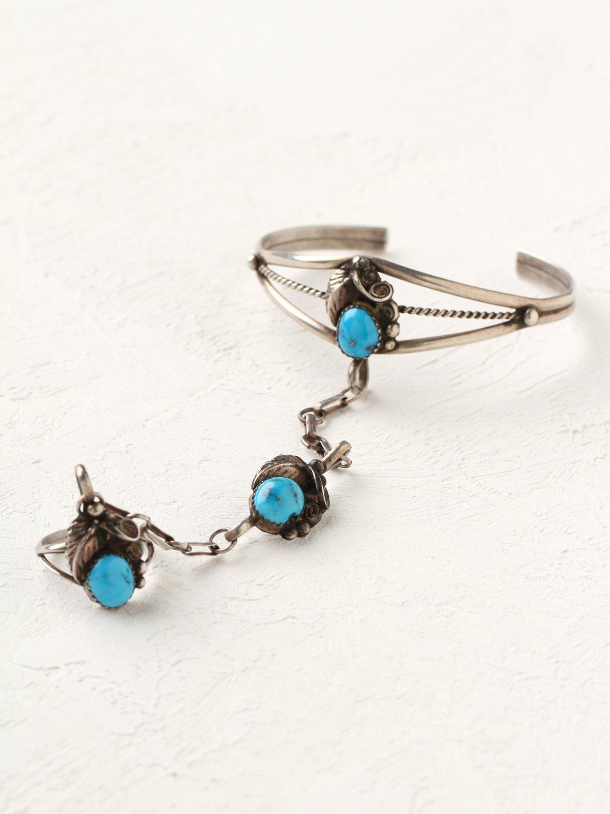 Vintage Turquoise Charm Ring Bracelet